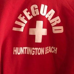 d4ebf36062f Tops - Red Lifeguard Hoodie Huntington Beach California